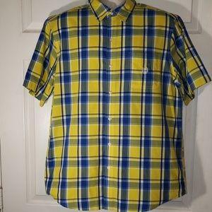 Chaps xl yellow & blue plaid button down shirt